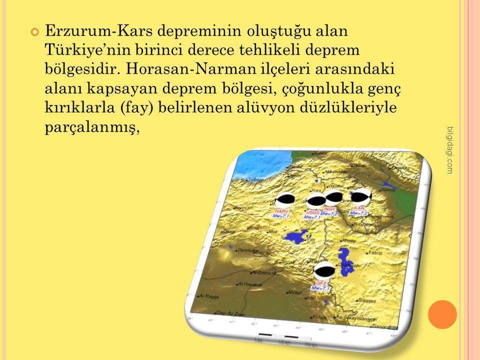 Erzurum-Kars depreminin oluştuğu alan Türkiye'nin birinci derece tehlikeli deprem bölgesidir. Horasan-Narman ilçeleri arasındaki alanı kapsayan deprem bölgesi, çoğunlukla genç kırıklarla (fay) belirlenen alüvyon düzlükleriyle parçalanmış,