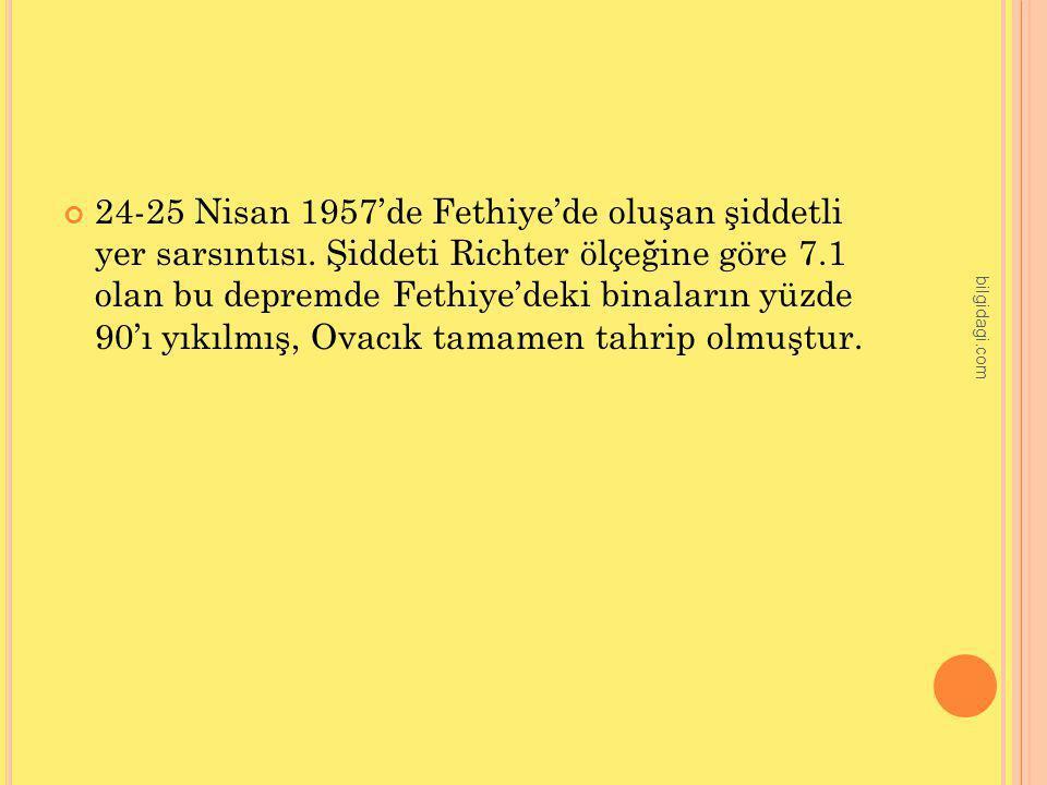 24-25 Nisan 1957'de Fethiye'de oluşan şiddetli yer sarsıntısı