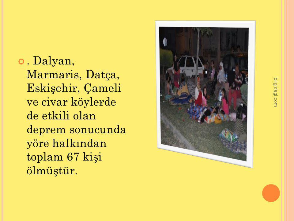 . Dalyan, Marmaris, Datça, Eskişehir, Çameli ve civar köylerde de etkili olan deprem sonucunda yöre halkından toplam 67 kişi ölmüştür.