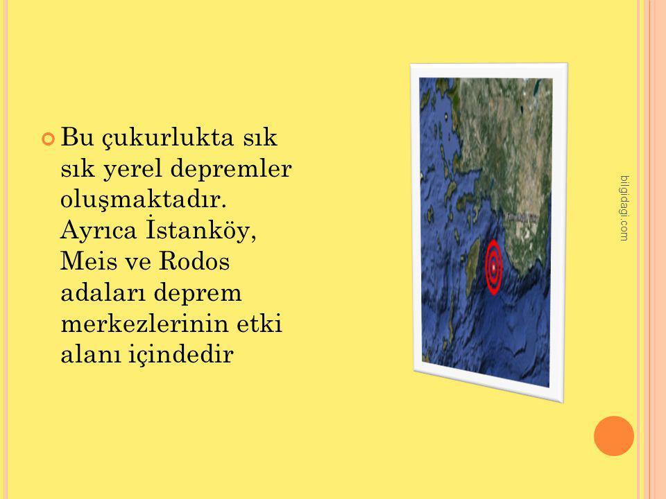 Bu çukurlukta sık sık yerel depremler oluşmaktadır