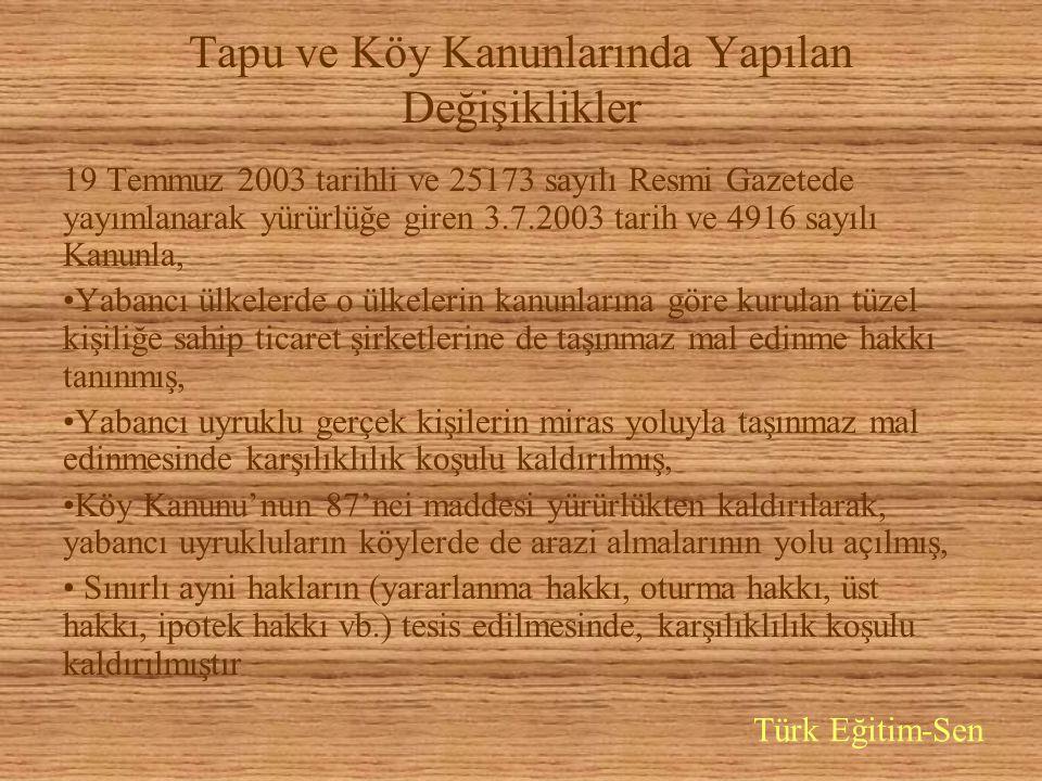 Tapu ve Köy Kanunlarında Yapılan Değişiklikler