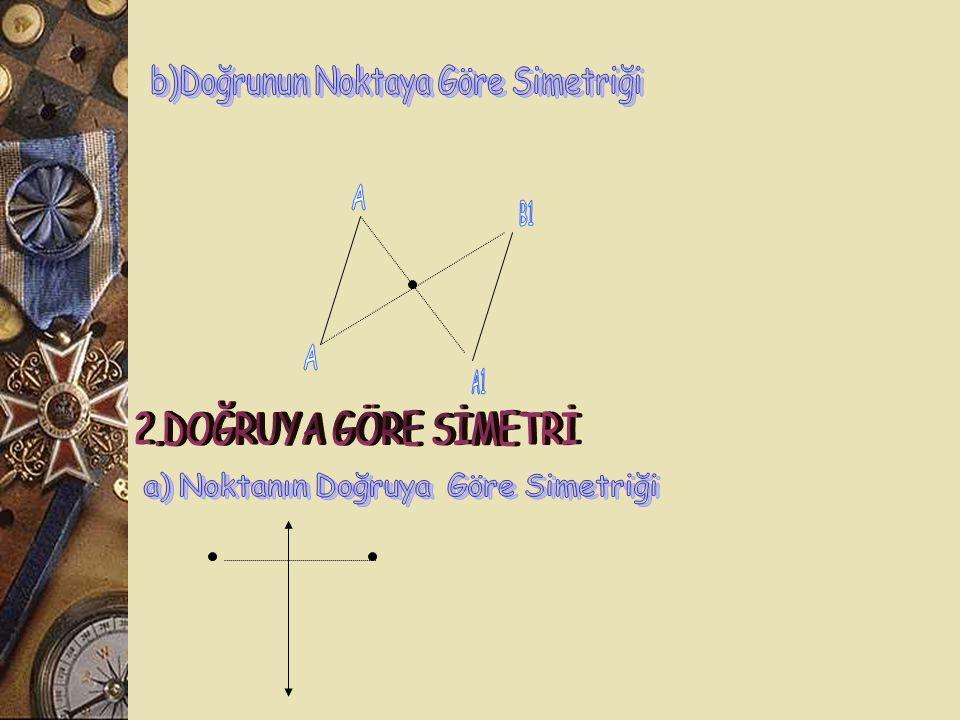 2.DOĞRUYA GÖRE SİMETRİ b)Doğrunun Noktaya Göre Simetriği