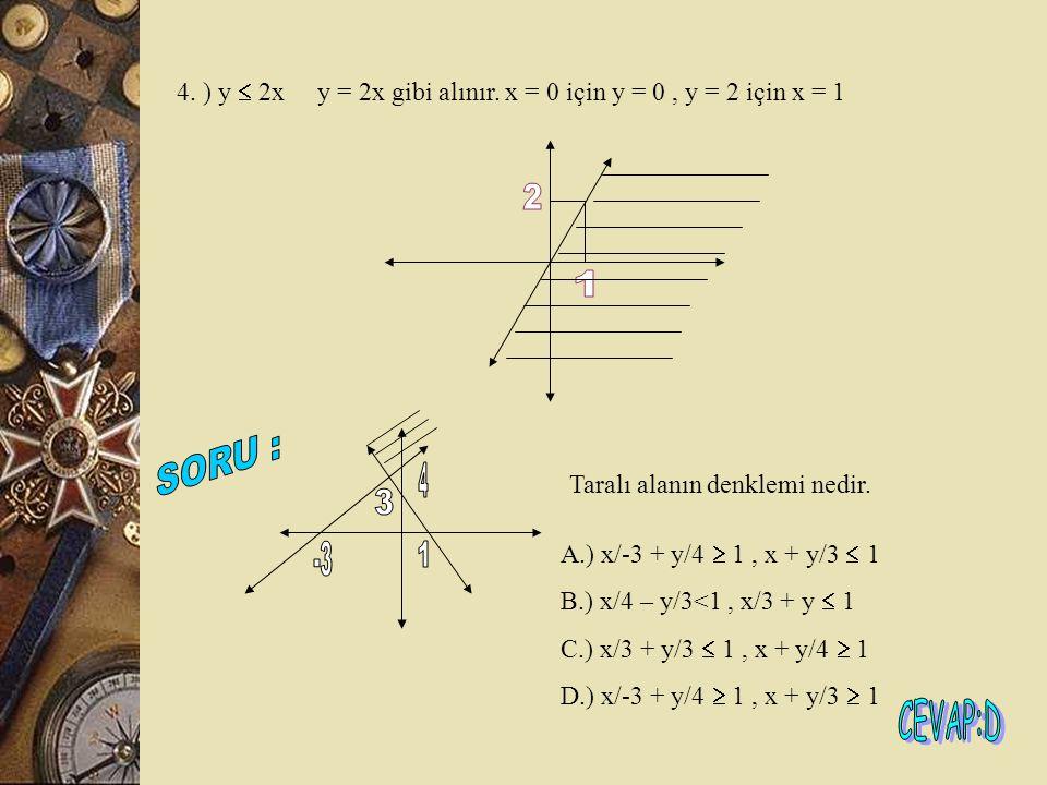 4. ) y  2x y = 2x gibi alınır. x = 0 için y = 0 , y = 2 için x = 1