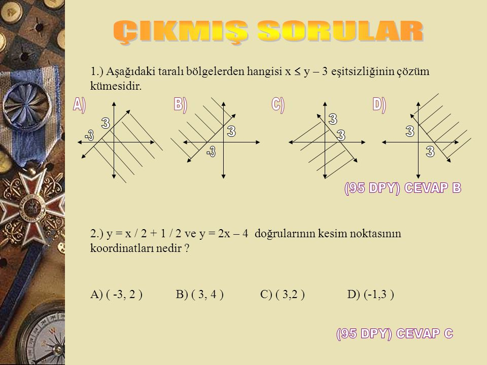 ÇIKMIŞ SORULAR A) B) C) D) 3 3 3 3 -3 3 -3 3 (95 DPY) CEVAP B