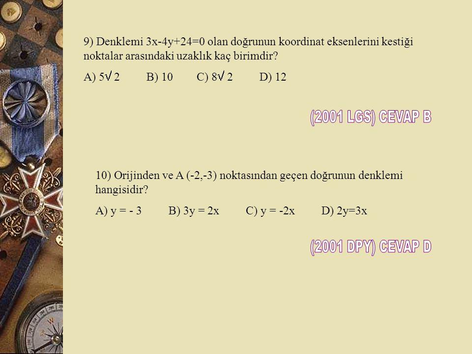 (2001 LGS) CEVAP B (2001 DPY) CEVAP D