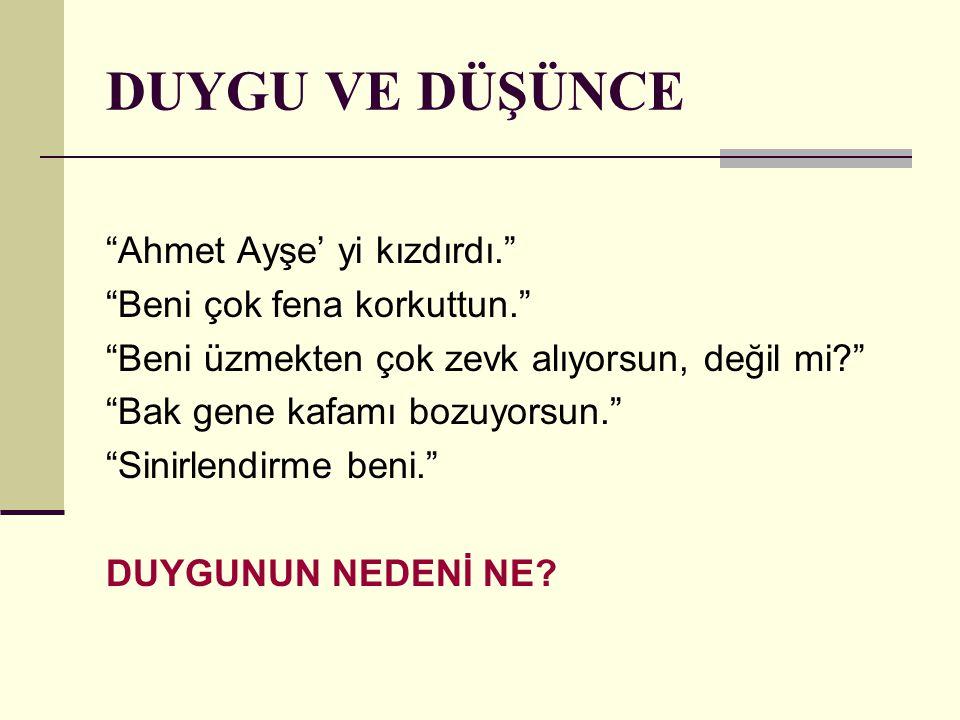 DUYGU VE DÜŞÜNCE Ahmet Ayşe' yi kızdırdı. Beni çok fena korkuttun.