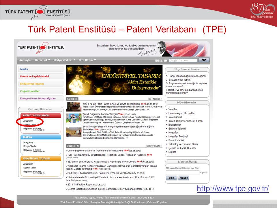 Türk Patent Enstitüsü – Patent Veritabanı (TPE)