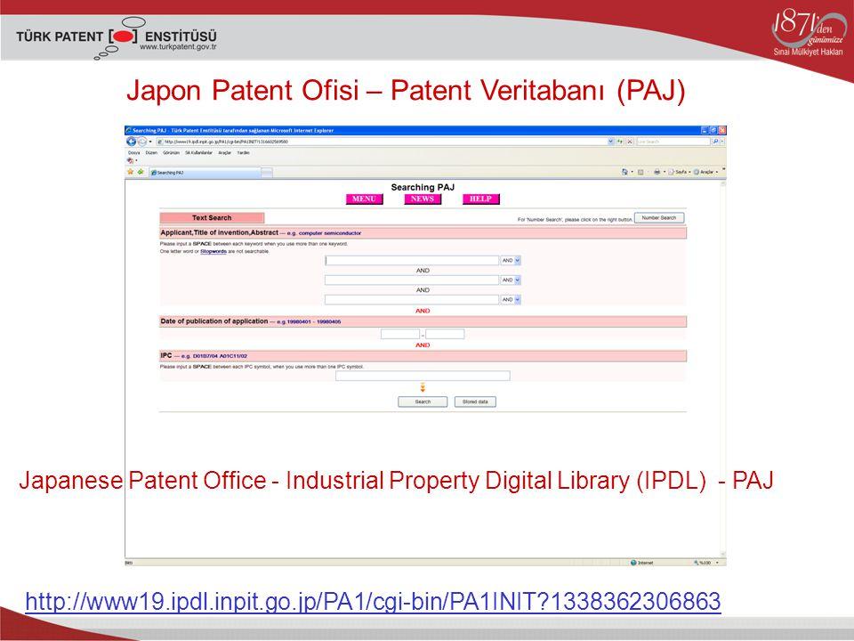 Japon Patent Ofisi – Patent Veritabanı (PAJ)