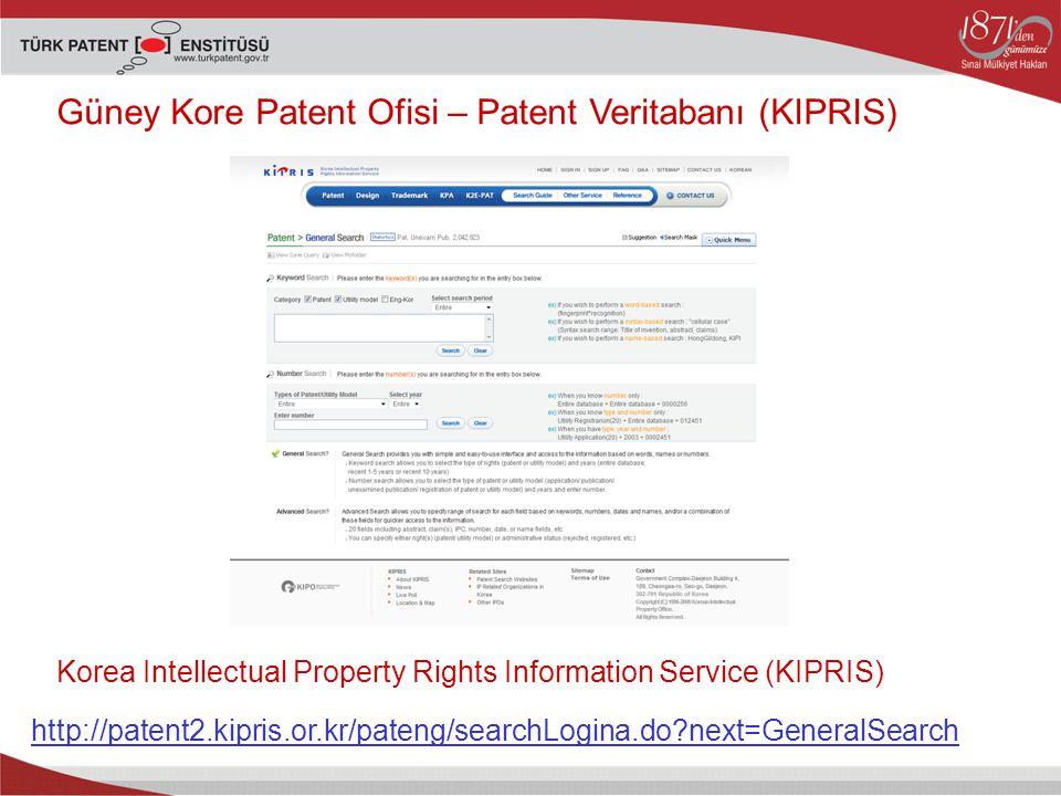 Güney Kore Patent Ofisi – Patent Veritabanı (KIPRIS)