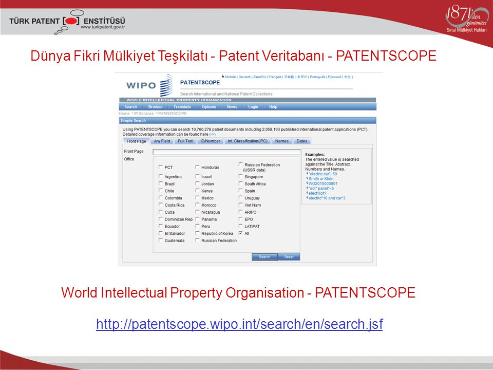 World Intellectual Property Organisation - PATENTSCOPE