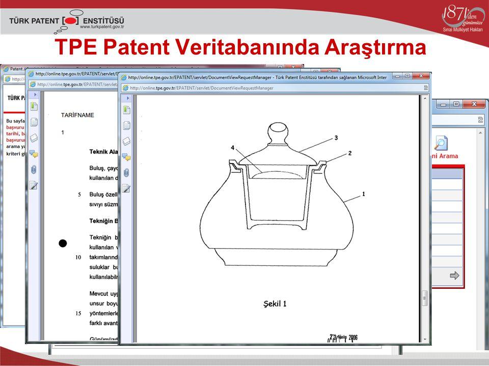 TPE Patent Veritabanında Araştırma