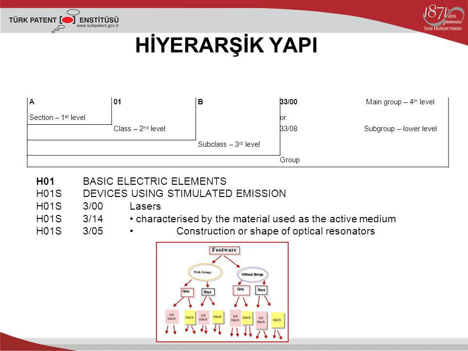 HİYERARŞİK YAPI A. 01. B. 33/00. Main group – 4th level. Section – 1st level. or. Class – 2nd level.
