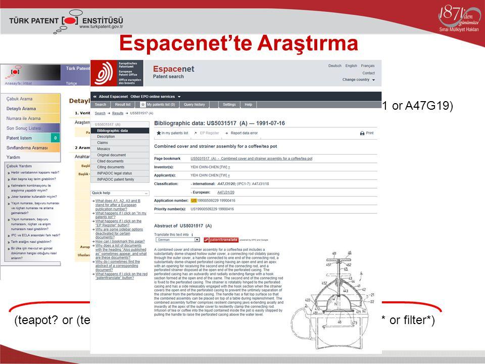 Espacenet'te Araştırma