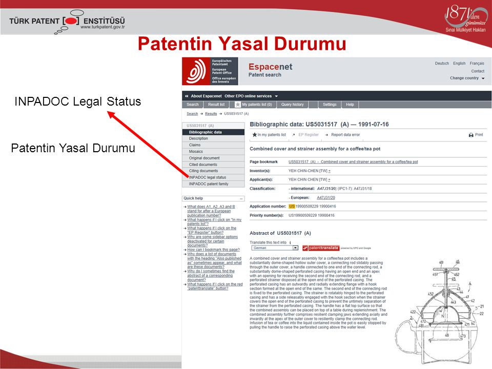 Patentin Yasal Durumu INPADOC Legal Status Patentin Yasal Durumu