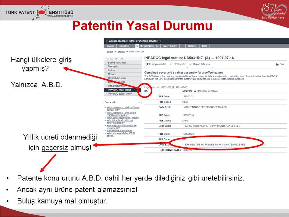 Patentin Yasal Durumu Hangi ülkelere giriş yapmış Yalnızca A.B.D.