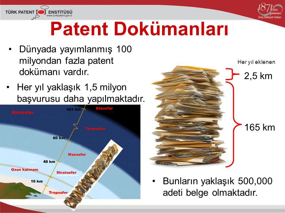 Patent Dokümanları Dünyada yayımlanmış 100 milyondan fazla patent dokümanı vardır. Her yıl eklenen.