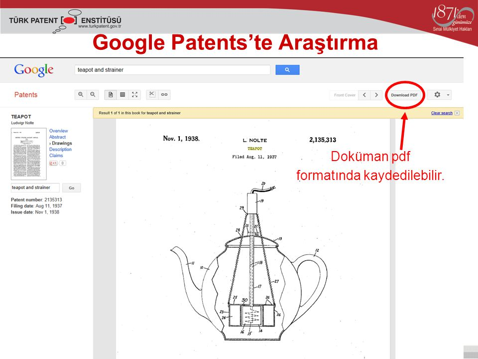 Google Patents'te Araştırma