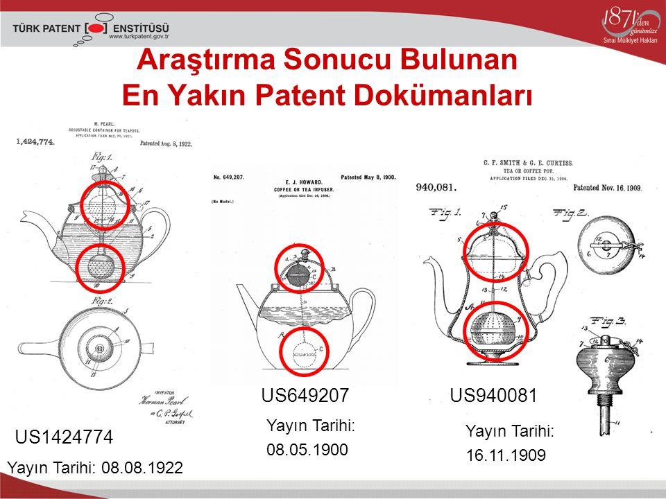 Araştırma Sonucu Bulunan En Yakın Patent Dokümanları