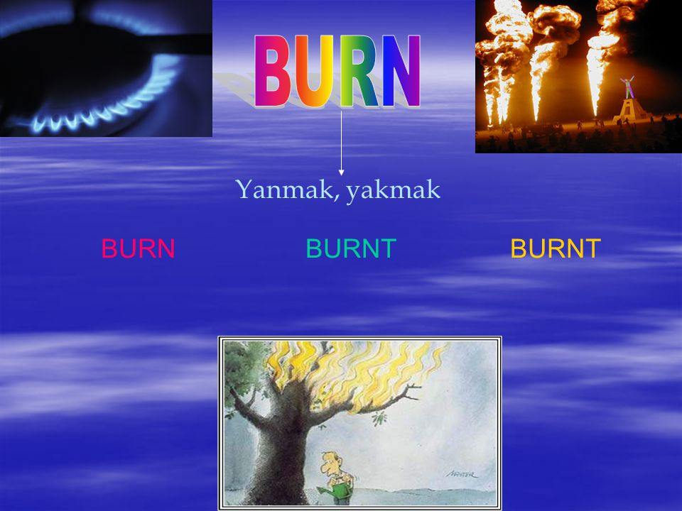 BURN Yanmak, yakmak BURN BURNT BURNT