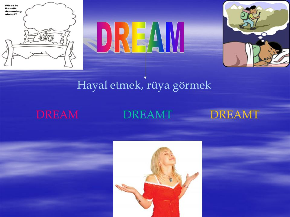 DREAM Hayal etmek, rüya görmek DREAM DREAMT DREAMT