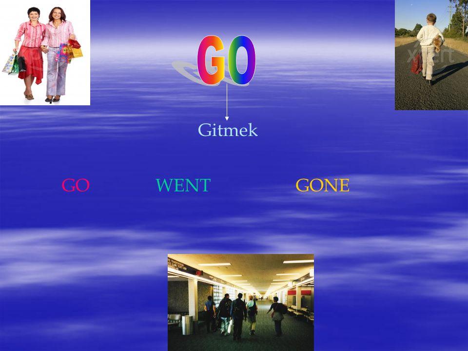 GO Gitmek GO WENT GONE