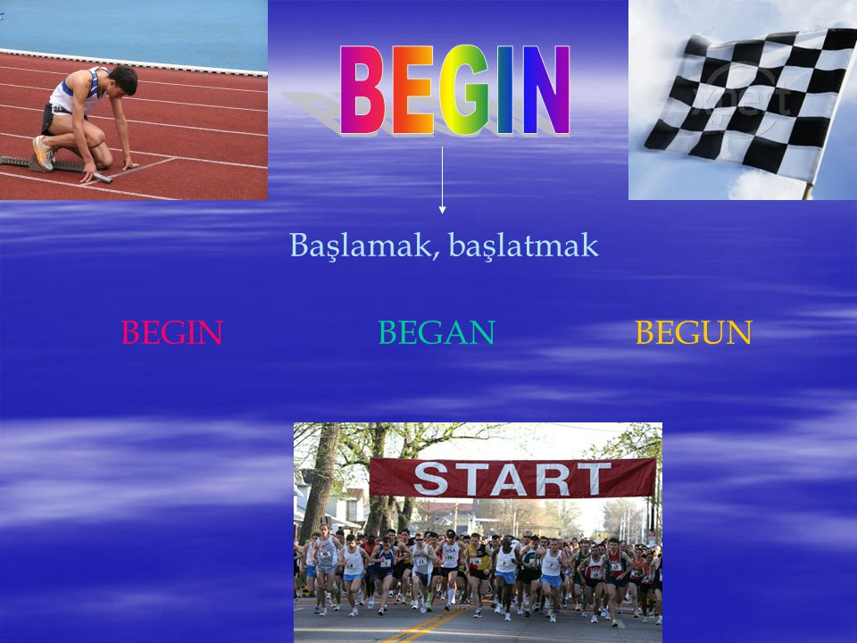BEGIN Başlamak, başlatmak BEGIN BEGAN BEGUN