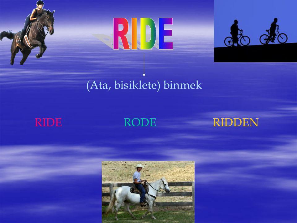 RIDE (Ata, bisiklete) binmek RIDE RODE RIDDEN