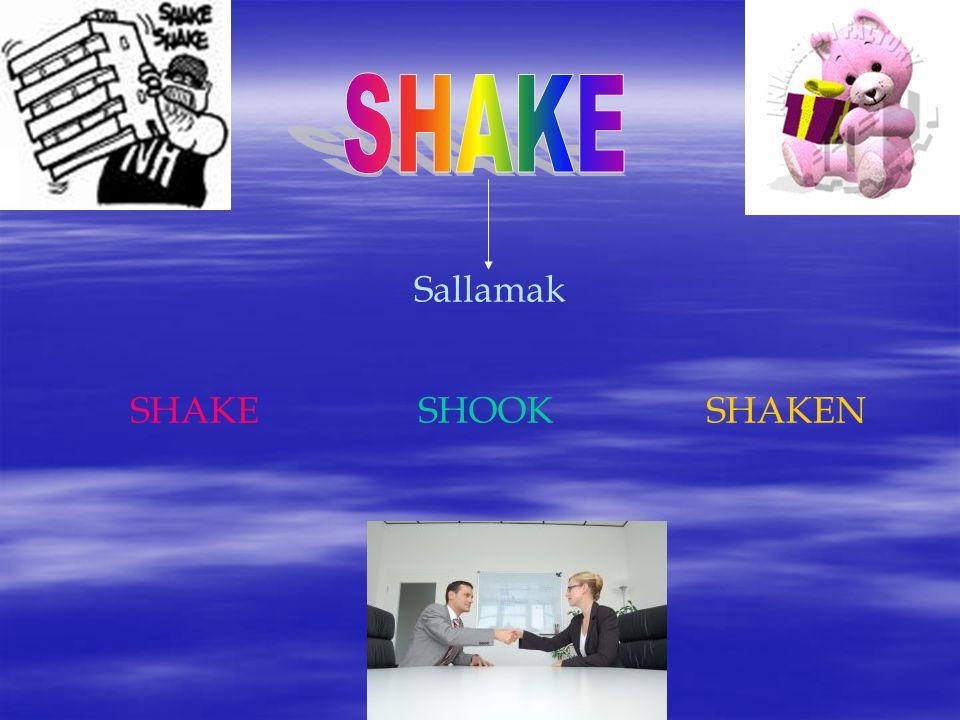 SHAKE Sallamak SHAKE SHOOK SHAKEN