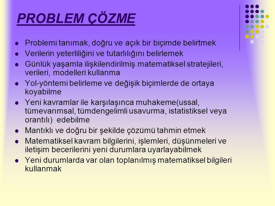 PROBLEM ÇÖZME Problemi tanımak, doğru ve açık bir biçimde belirtmek