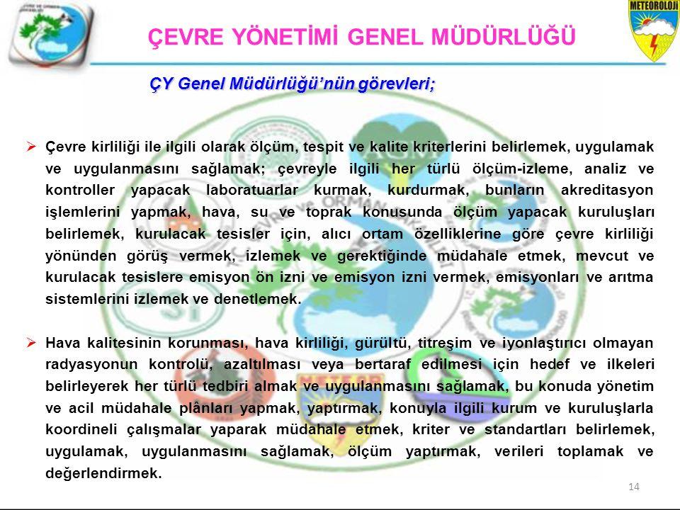 ÇEVRE YÖNETİMİ GENEL MÜDÜRLÜĞÜ ÇY Genel Müdürlüğü'nün görevleri;