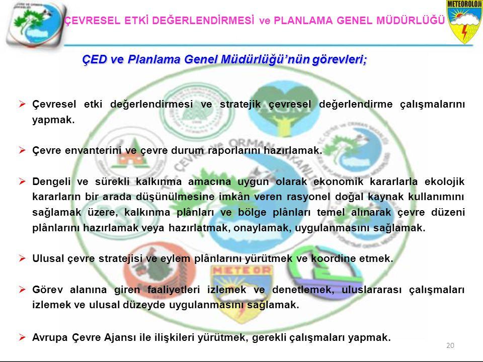 ÇED ve Planlama Genel Müdürlüğü'nün görevleri;