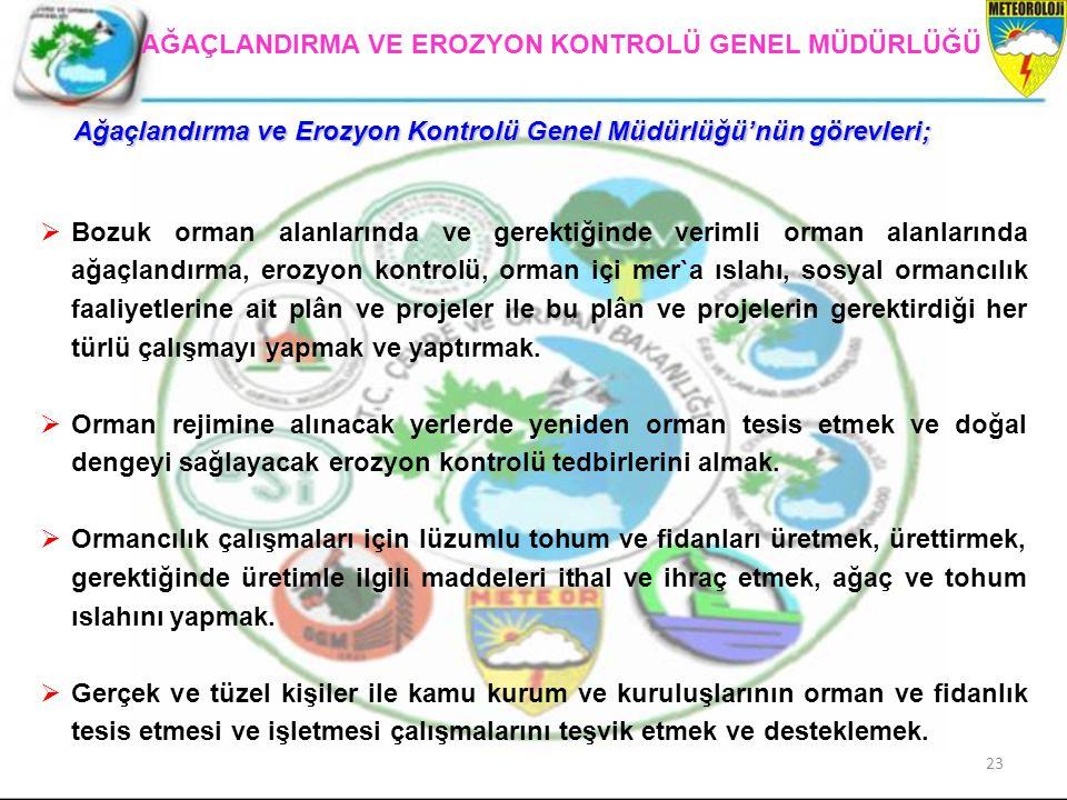 Ağaçlandırma ve Erozyon Kontrolü Genel Müdürlüğü'nün görevleri;