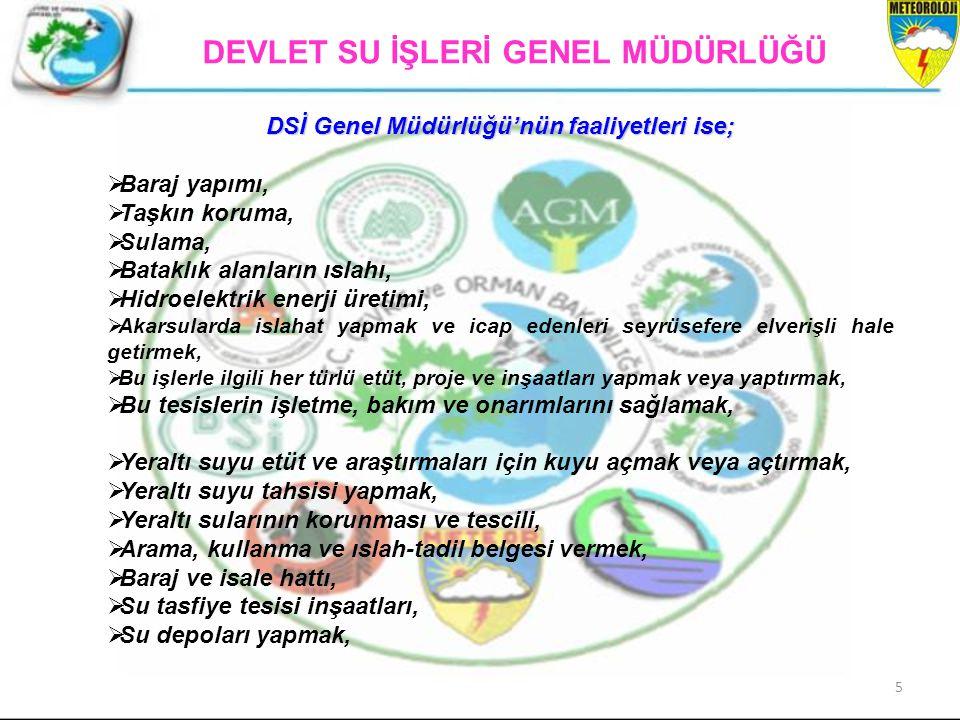 DSİ Genel Müdürlüğü'nün faaliyetleri ise;