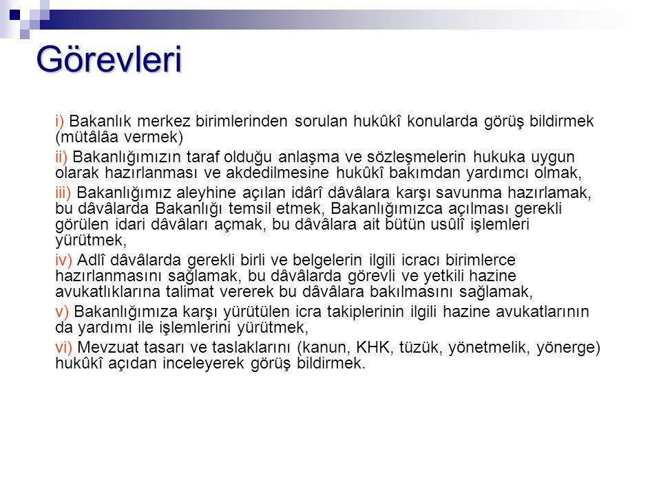 Görevleri i) Bakanlık merkez birimlerinden sorulan hukûkî konularda görüş bildirmek (mütâlâa vermek)