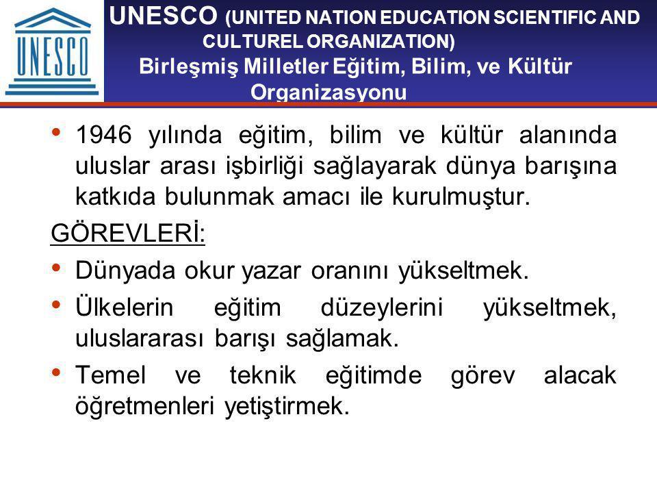 UNESCO (UNITED NATION EDUCATION SCIENTIFIC AND CULTUREL ORGANIZATION) Birleşmiş Milletler Eğitim, Bilim, ve Kültür Organizasyonu