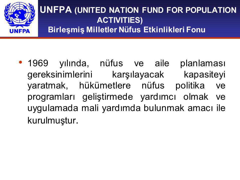 UNFPA (UNITED NATION FUND FOR POPULATION ACTIVITIES) Birleşmiş Milletler Nüfus Etkinlikleri Fonu