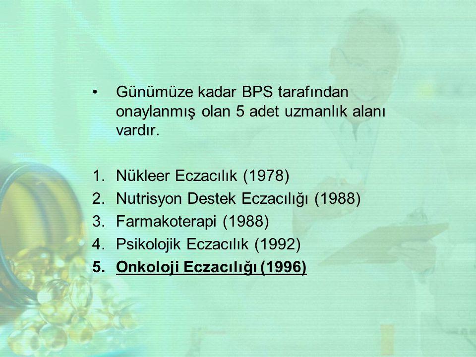 Günümüze kadar BPS tarafından onaylanmış olan 5 adet uzmanlık alanı vardır.