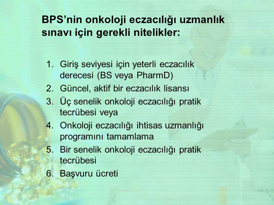 BPS'nin onkoloji eczacılığı uzmanlık sınavı için gerekli nitelikler: