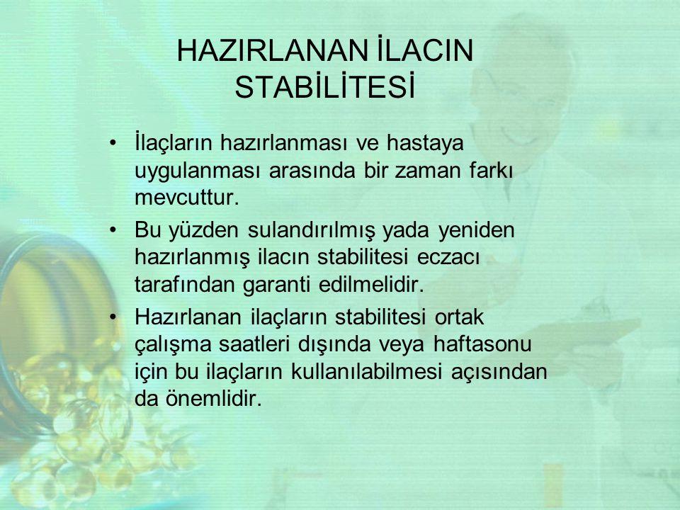 HAZIRLANAN İLACIN STABİLİTESİ
