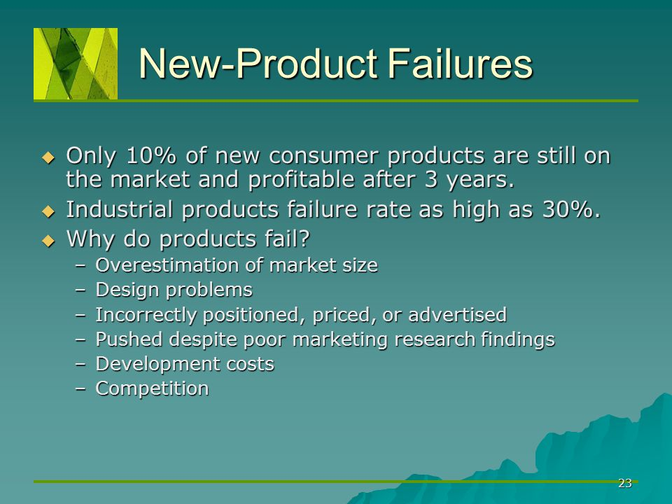 New-Product Failures Only 10% of new consumer products are still on the market and profitable after 3 years.