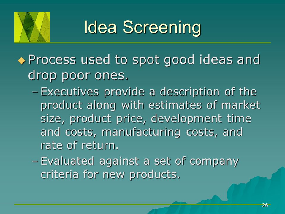 Idea Screening Process used to spot good ideas and drop poor ones.
