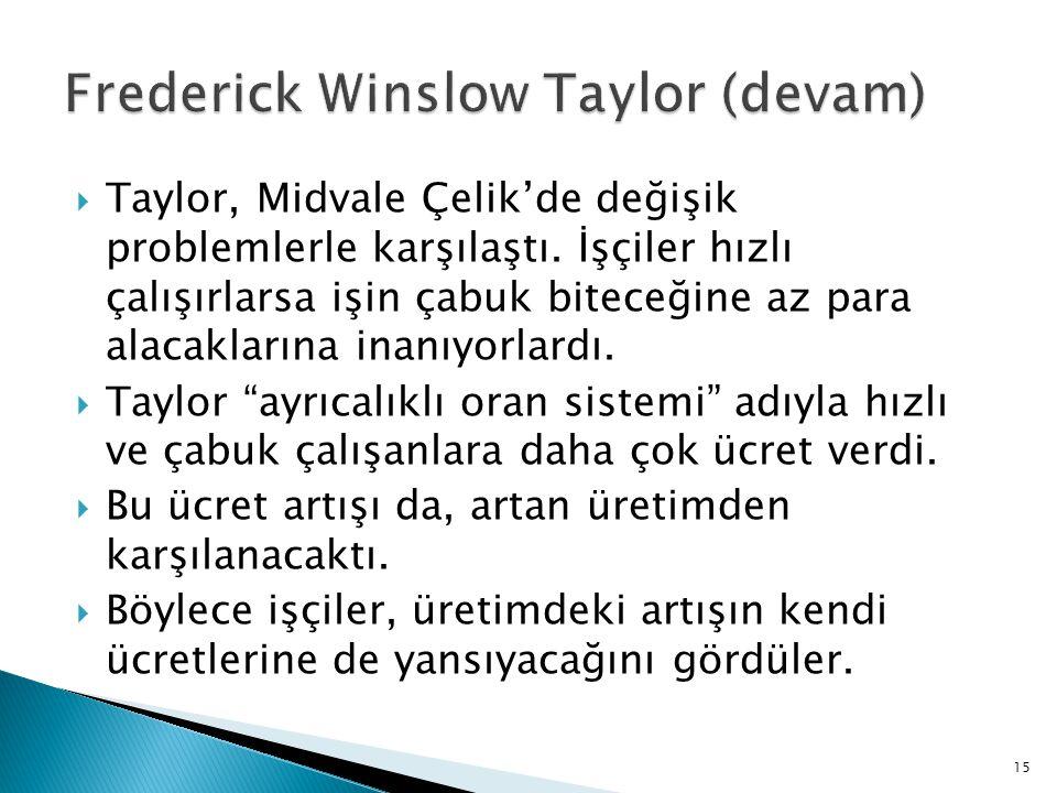 Frederick Winslow Taylor (devam)