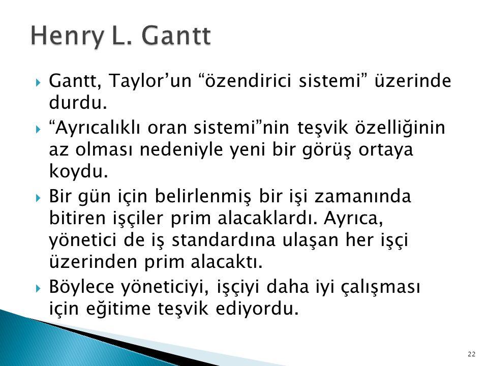 Henry L. Gantt Gantt, Taylor'un özendirici sistemi üzerinde durdu.