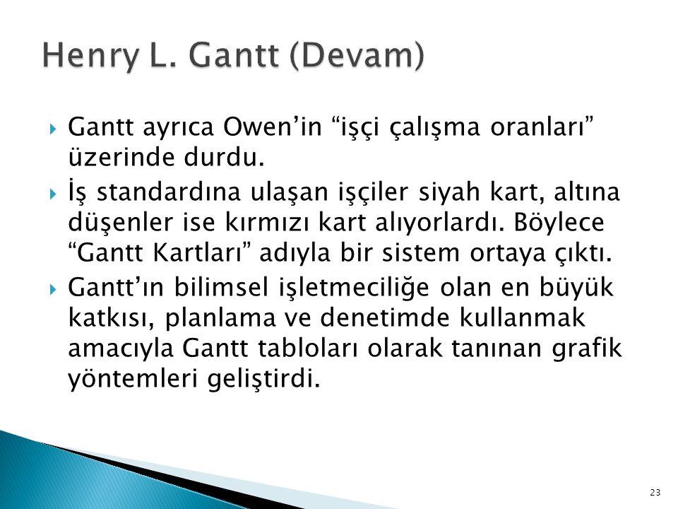 Henry L. Gantt (Devam) Gantt ayrıca Owen'in işçi çalışma oranları üzerinde durdu.