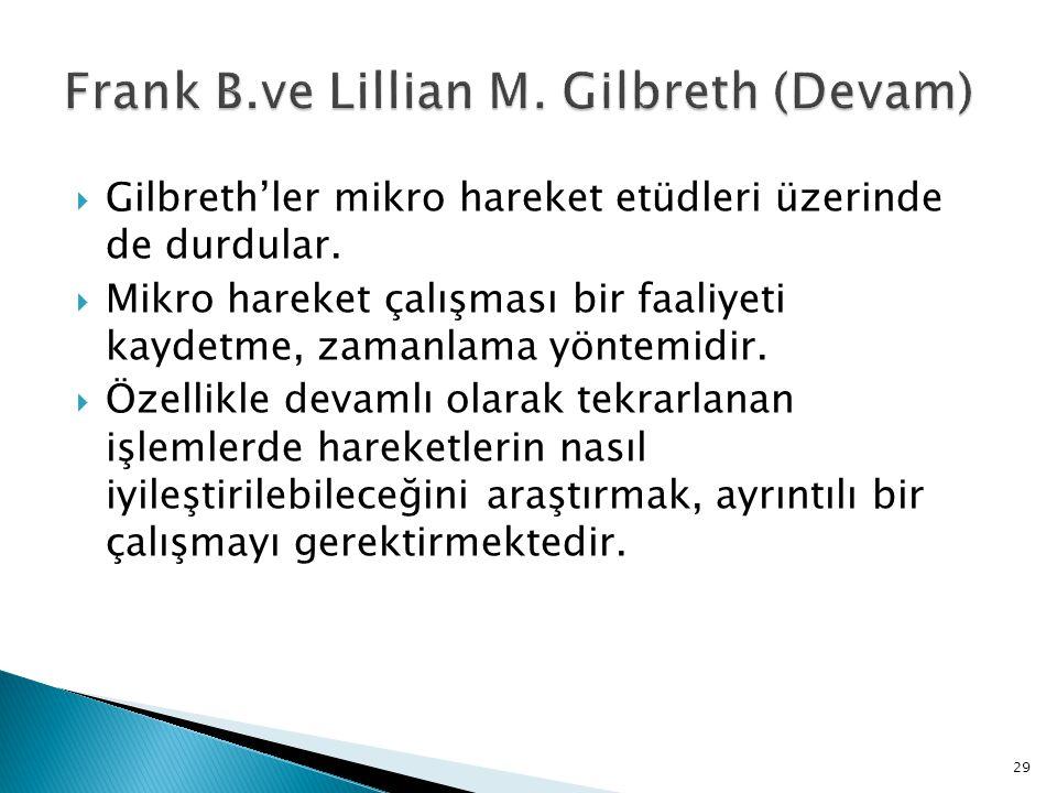 Frank B.ve Lillian M. Gilbreth (Devam)