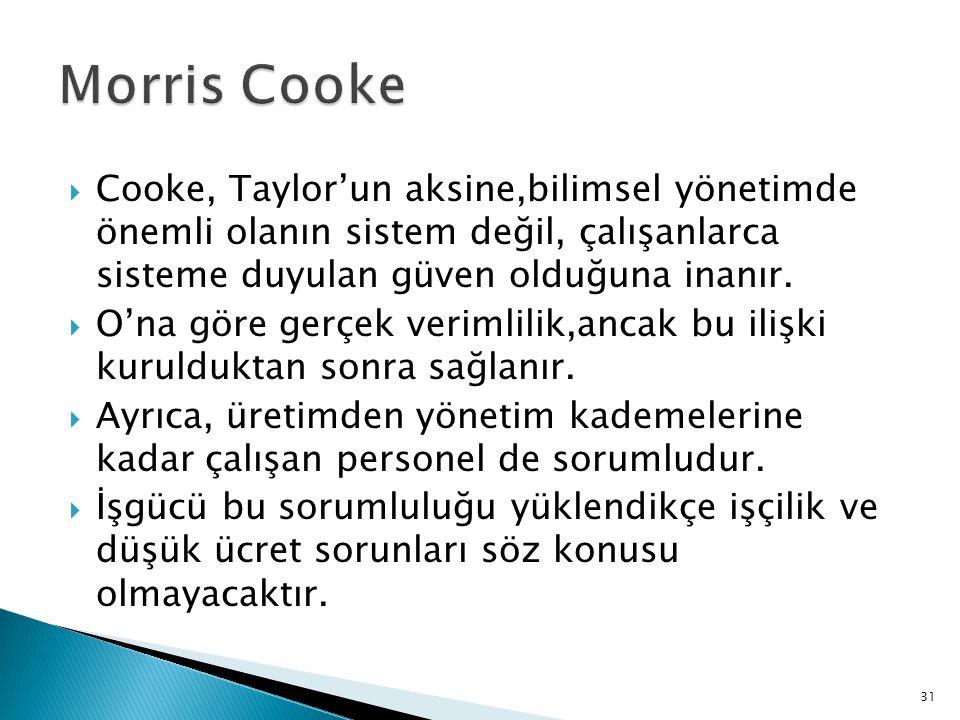 Morris Cooke Cooke, Taylor'un aksine,bilimsel yönetimde önemli olanın sistem değil, çalışanlarca sisteme duyulan güven olduğuna inanır.