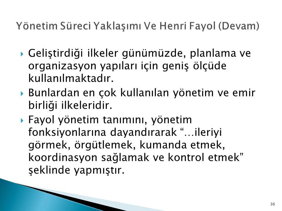 Yönetim Süreci Yaklaşımı Ve Henri Fayol (Devam)
