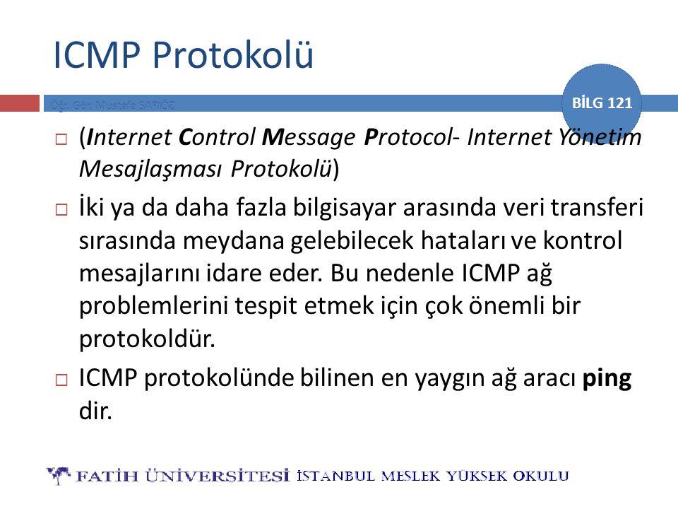 ICMP Protokolü (Internet Control Message Protocol- Internet Yönetim Mesajlaşması Protokolü)