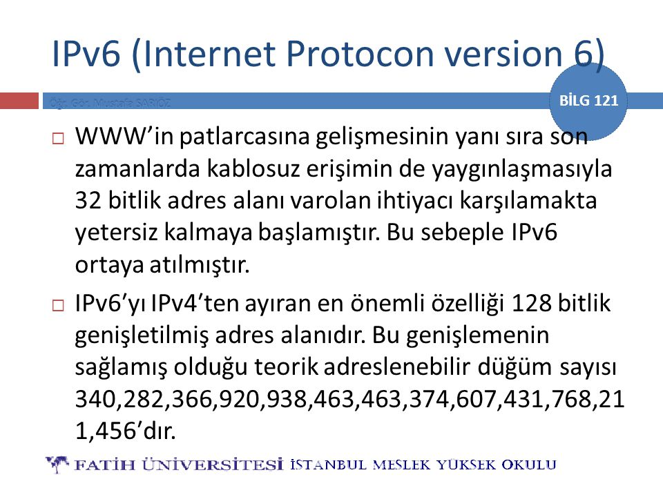 IPv6 (Internet Protocon version 6)