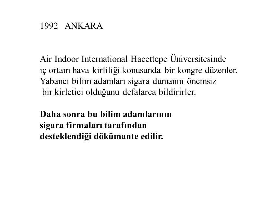 1992 ANKARA Air Indoor International Hacettepe Üniversitesinde. iç ortam hava kirliliği konusunda bir kongre düzenler.